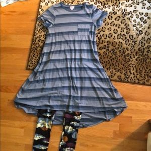 LulaRoe Carly Dress and Leggings Outfit